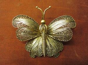 Vintage Butterfly Silver Gold Brooch Bags of Vintage Toni Turner